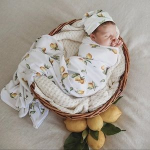 Lemon Baby Jersey Wrap and Beanie Set